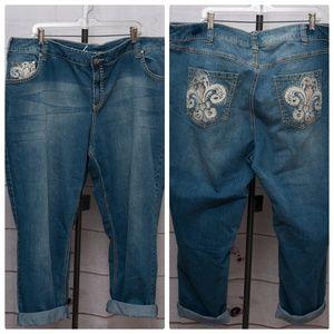 "Lane Bryant Skinny Size 24 Crop Jeans 44"" Waist"
